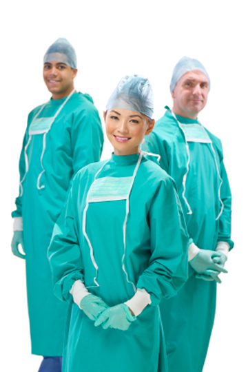 happy male and female medical professionals